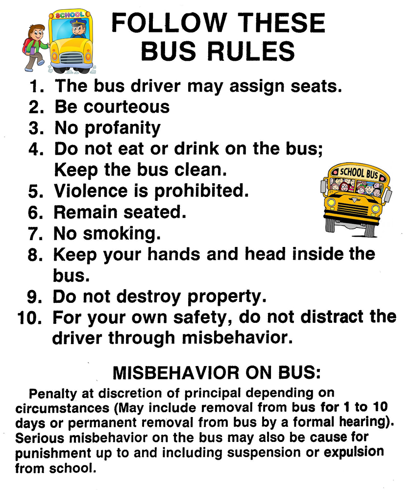 Remarkable image for printable school bus rules