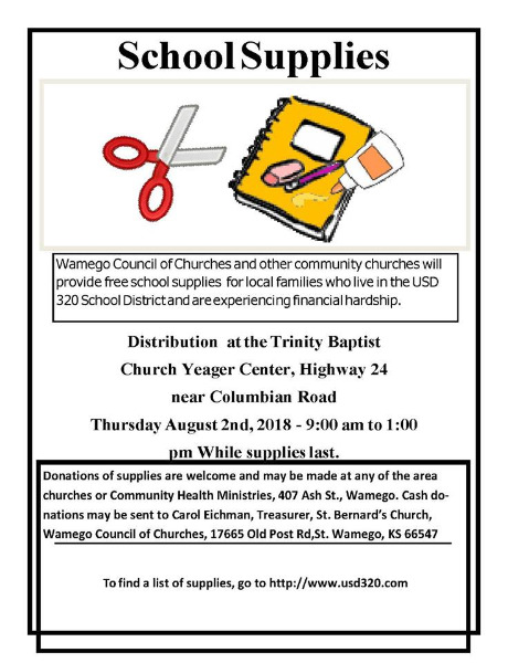 Wamego Public Schools - Community School Supply Distribution