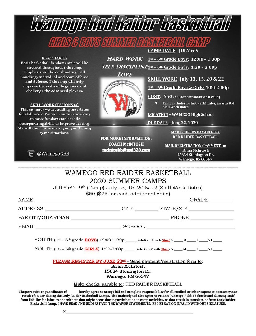 2020 Summer Basketball Camp Flyer